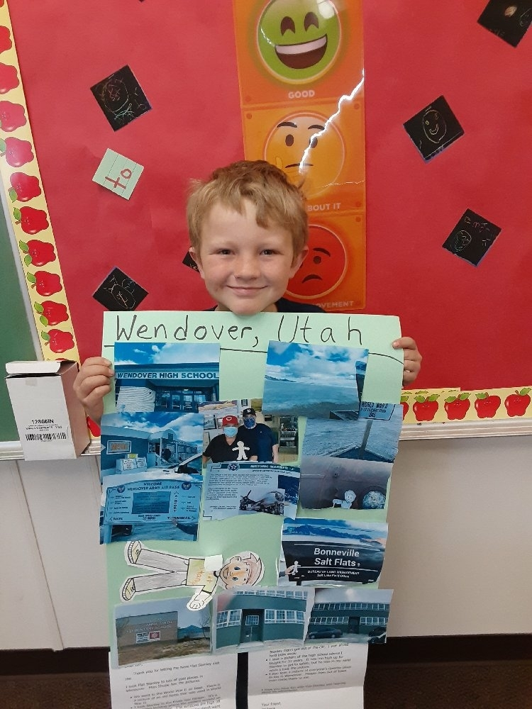 Flat Stanley Sees a World War 2 Bomb in Wendover, Utah